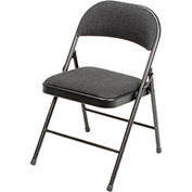 Steel Frame Folding Chair, Padded Fabric Seat and Back, Black - Pkg Qty 4