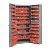 Bin Cabinet With 40 Inner & 96 Door Red Bins, Unassembled, 38x24x72