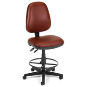 Anti-Microbial Vinyl Stool Without Arms, Burgundy