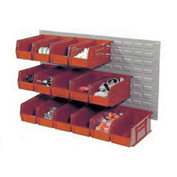 Wall Panel With (8) Red Bins, 36x19