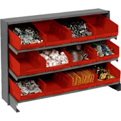 "3 Shelf Bench Rack, (12) 8""W Red Bins, 33x12x21"
