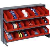 "3 Shelf Bench Rack, (24) 4""W Red Bins, 33x12x21"