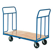 "Wood Deck Platform Truck w/Removable Handles, 2400 Lb. Capacity, 8"" Mold-On Rubber Wheels"