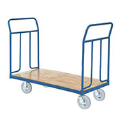 "Wood Deck Platform Truck w/Removable Handles,  1200 Lb. Capacity,8"" Pneumatic Wheels"