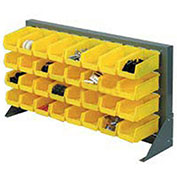 Louvered Bench Rack with (10) Yellow Stacking Akrobins, 36x15x20