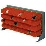 Louvered Bench Rack with (18) Red Stacking Akrobins, 36x15x20