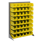 "Louvered Bin Rack With (58) Yellow Stacking Bins, 35""W x 15""D x 50""H"