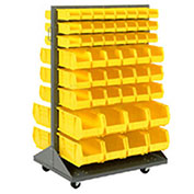 Mobile Double Sided Floor Rack With (64) Yellow Bins, 36x25.5x54