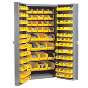 Bin Cabinet With 36 Inner & 96 Door Yellow Bins, Assembled, 38x24x72