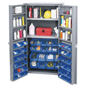 Bin Cabinet With 16 Inner & 48 Door Blue Bins, Assembled, 38x24x72