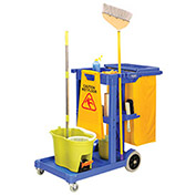 Janitor Cart Blue with 25 Gallon Vinyl Bag