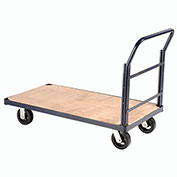 "Steel Bound Platform Truck w/Wood Deck, 48 x 24, 6"" Rubber Casters, 2000 Lb. Capacity"