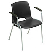 Vented Stack Chairs With Arms Rests - Black - Pkg Qty 4