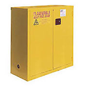 "Flammable Cabinet , 30 Gallon, Self Close Double Door, 43""W x 18""D x 44""H"