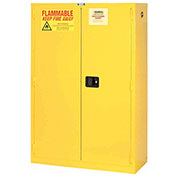 "Flammable Cabinet, 45 Gallon, Manual Close Double Door, 43""W x 18""D x 65""H"
