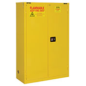 "Flammable Cabinet, 45 Gallon, Self Close Double Door, 43""W x 18""D x 65""H"