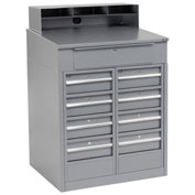 "Shop Desk with 9 Drawers, 34-1/2""W x 30""D x 51-1/2""H, Gray"