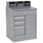 "Shop Desk with 4 Drawers and Cabinet, 34-1/2""W x 30""D x 51-1/2""H, Gray"