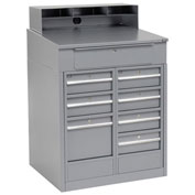 "Shop Desk with 8 Drawers, 34-1/2""W x 30""D x 51-1/2""H, Gray"