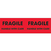 "3"" x 10"" ""Fragile - Handle With Care"" Pallet Corner Labels, Fluorescent Red, 500 Per Roll"