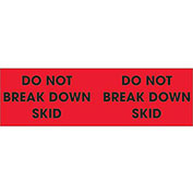 "3"" x 10"" ""Do Not Break Down Skid"" Pallet Corner Labels, Fluorescent Red, 500 Per Roll"