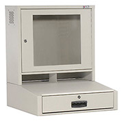 "LCD Counter Top Security Computer Cabinet, Gray, 24-1/2""W x 22-1/2""D x 29-1/2""H"