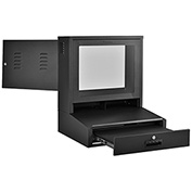 "LCD Counter Top Security Computer Cabinet, Black, 24-1/2""W x 22-1/2""D x 29-1/2""H"