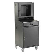 "Mobile Security LCD Computer Cabinet Enclosure, Black, 24-1/2""W x 22-1/2""D x 62-3/4""H"
