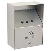 """Stainless Steel Wall Mount Outdoor Ashtray 9""""W X 5""""D X 13""""H"""