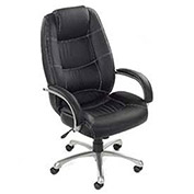 Saddle Stitched High Back Office Chair, Leather, Black