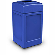 Commercial Zone Square Waste Receptacle, 42 Gallon, Blue