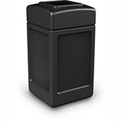 Commercial Zone Square Waste Receptacle, 42 Gallon, Black