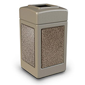 Commercial Zone 42 Gallon Square Waste Receptacle - Beige With Riverstone Panels
