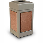 Commercial Zone StoneTec® 42 Gallon Square Waste Receptacles, Beige With Sedona Panels