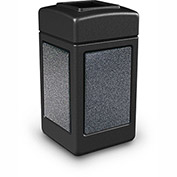 Commercial Zone StoneTec® 42 Gallon Square Waste Receptacle, Black With Pepperstone Panels