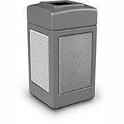Commercial Zone StoneTec® 42 Gallon Square Waste Receptacles, Gray With Ashtone Panels