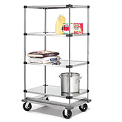 Stainless Steel Shelf Truck with Dolly Base, 48x24x70, 1600 Lb. Cap.