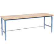 "Production Workbench - Maple Butcher Block Square Edge - Blue, 96""W x 30""D"
