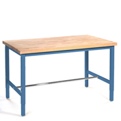 "Production Workbench - Maple Butcher Block Square Edge - Blue, 72""W x 30""D"