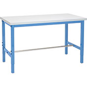 "Production Workbench - Plastic Laminate Square Edge - Blue, 60""W x 30""D"