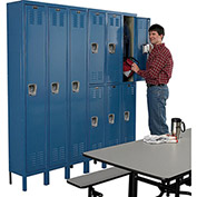 "HALLOWELL Premium 2-Tier Steel Locker - 12x15x36"" Openings - 3 Locker Wide - Set-Up - Marine blue"