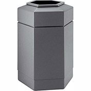 Commercial Zone Waste Receptacle, 30 Gallon, Gray
