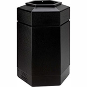 Commercial Zone Waste Receptacle, 30 Gallon, Black
