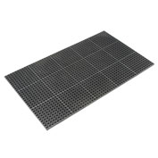 Apache Mills Cushioned Comfort Drainage Matting, 3'W X 10'L, Black Grease Resistant