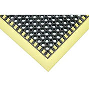 Apache Mills Hi-Visibility Safety Drainage Matting w/Grit Top 3-Sided Yellow Border, 38x52