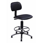 "Vinyl Upholstered Swivel Stool, Black, 17""-21""H Seat"