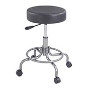 Scooter Stool Without Back Manual Height Adjustment, Vinyl Upholstered, Black