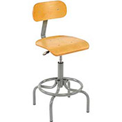 Swivel Stool With Pneumatic Height Adjustment, Wooden
