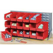 Louvered Bench Rack with (22) Red Premium Stacking Bins, 36x15x20