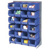 "Louvered Bin Rack With (58) Blue Stacking Bins, 35""W x 15""D x 50""H"